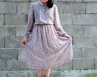 Folksy dress with botanical and floral patterns / Japanese Vintage dress / Autumn / Pleated bodice / Covered buttons / Size XS