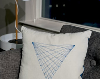 Triangle Sacred Geometry Teal Throw Pillow