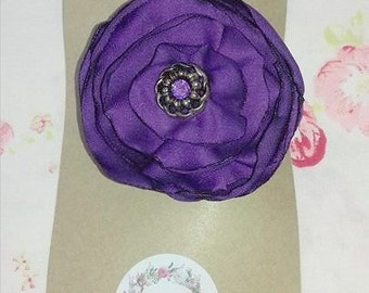 Flower hair clip, Purple Satin With Button Center