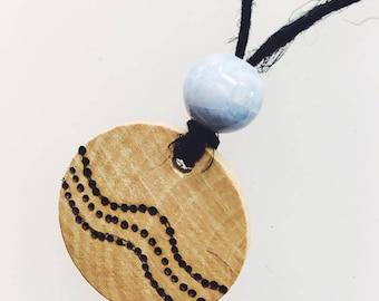 Wood Burned Dot Necklace, Pyrography