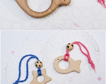 Personalized wooden teether Eco friendly natural teething toy Custom name wooden baby gift Baby shower gift Newborn wooden toy