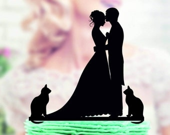 Wedding cake topper with  Cat , Silhouette Groom and Bride, Acrylic Cake Topper, Silhouette cake topper with two cats, family cake topper