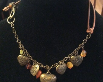 Summer Sale Rustic Heart Charm Choker Necklace