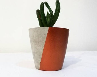 Small Concrete Planter with Metallic Painted Finish