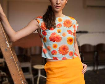 Orange Linen Short Skirt