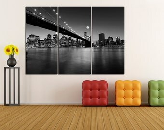 Manhattan skyline canvas Print, Manhattan Skyline wall art Brooklyn Bridge canvas print wall art, new york wall art print t5S54