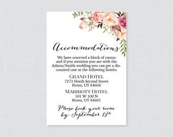 Printable OR Printed Wedding Accommodation Cards - Pink Floral Accommodation Inserts - Rustic Flower Wedding Details Invitation Insert 0004