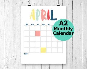 Large Wall Calendar, Monthly Wall Calendar, Printable Wall Calendar, Printable Calendar, Undated Calendar, Modern Calendar, Calendar A2,