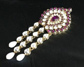 Saree Pin - Indian Brooch - Saree Brooch - Bollywood Brooch - Indian Accessory - Saree Accessory - Indian Jewelry - Kundan Jewelry -