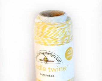 Bakers Twine Yellow and White String Cotton Scrapbooking Twine 20 Yards