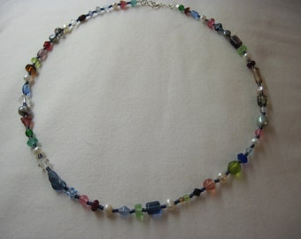 Mixed Bouquet Gemstone and Fresh Water Pearl Necklace