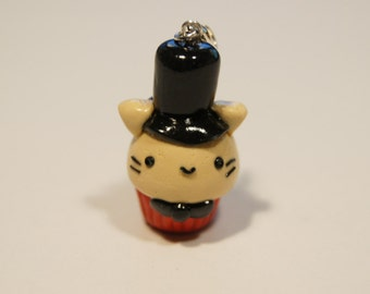 Top Hat Cat Cupcake Charm Keyring