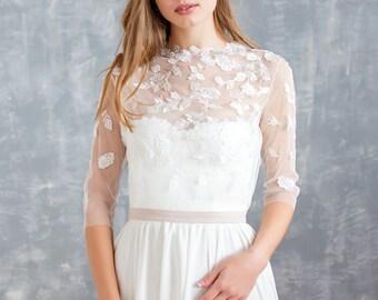 2 piece wedding dress, ivory wedding dress, tulle wedding dress, bohemian wedding dress, garden wedding dress, wedding dress, lace dress