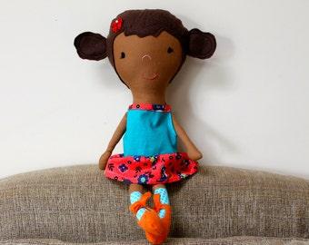 Doll, Brown Doll, Soft Doll, Rag Doll, Hispanic Doll, Latino doll, stuffed doll, nursery decor, baby doll, ballerina doll, Blue and Orange