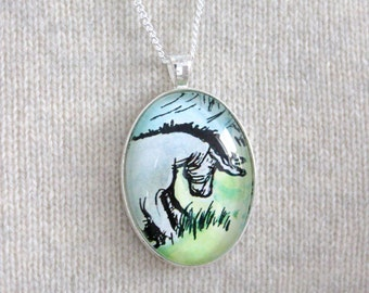 Winnie the Pooh, 'Eeyore by the Lake' Classic Pooh Bear Book Page Necklace.