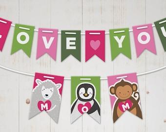 Easy DIY printable Birthday banner for mom - Paper banner party decor - Birthday party banner for her - Printable mom day decor