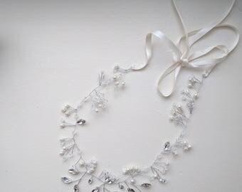 Bridal silver hair band - Holly