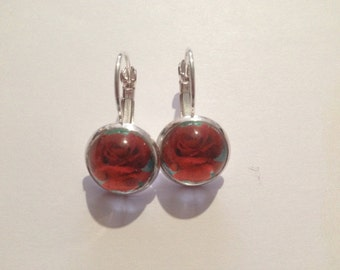 Red rose cabochon earrings