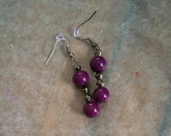 Purple Dangle Fish Hook Earrings