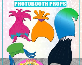 Trolls Birthday Photo Booth Props Printable Trolls Birthday