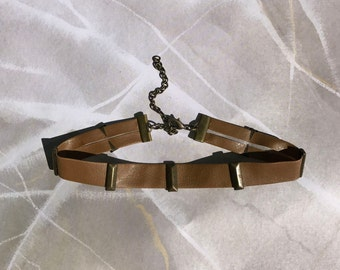 Tan Leather Choker with Studs