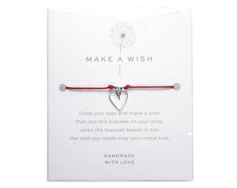 Handmade Wish Bracelets with Charm Sterling Silver