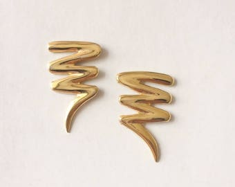 Vintage 1980's Gold Bold Scribble Statement Earrings