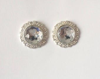 Vintage 1950's Hollywood Glamour Large Round Rhinestones Faceted Diamante Statement Earrings