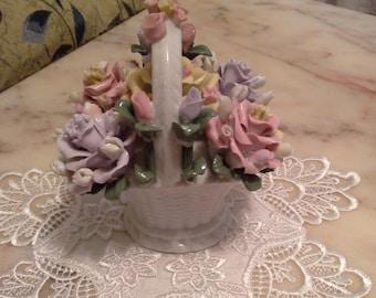 Porcelain basket of roses / Porcelain figurine