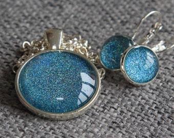 Blue Jewellery - Jewellery Set - Blue Earrings - Blue Necklace - Statement Necklace - Handmade Jewellery