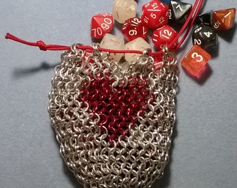 Small Chainmail Dice Bag with Red Heart Inlay