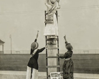 Suffragettes Protest Photo, Women's March, Equal Pay, Black White Photo Print, Voting Rights, Equal Rights, Resist, Wall Art Decor