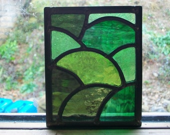 Stained glass panel suncatcher, leaded glass, Christmas present