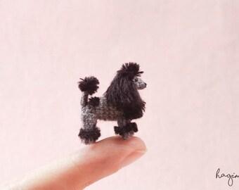EXTREME MICRO DOG - Tiny Black Poodle dog, Miniature crochet Poodle, tiny amigurumi dog,