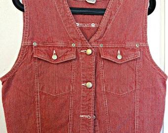 90s Vintage Cropped Red Denim Vest