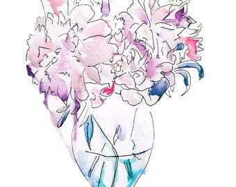 Vase with flowers - Fine Art Print