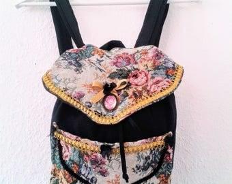 Tapestry backpack, gobelin backpack, vintage backpack, handmade backpack, cotton backpack, gobelin, victorian backpack, mochila mujer