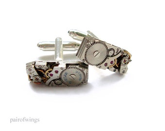 Cuff links of cufflinks jewellery for you Mr jewelry steampunk clockwork silver rectangular large