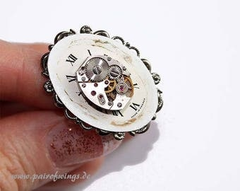 Ring adjustable steampunk jewelry with silver vintage dial movement piece of jewelry handmade for ladies costume gear everyday