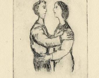 "FRANK KLEINHOLZ (American, 1901-1987), ""Brief Encounter"", 1942, drypoint, pencil signed"
