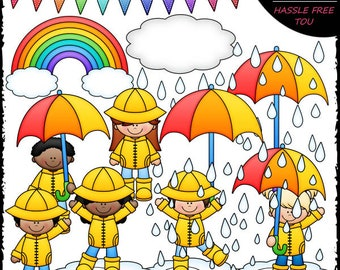 Rainy Day Kids Clip Art and B&W Set