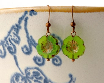 Delicate green apple Blossom earrings