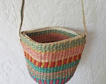 Vintage woven crossbody • Vintage bag • Vintage shopping bag • Woven rope bag  • Woven handbag •