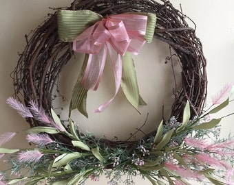 Grapevine Wreath, Pink and Green Wreath, Spring Wreath, 18 inches, Floral Decor, Spring Decor