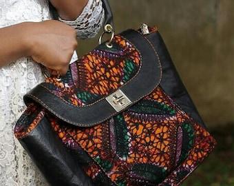 Ankara 100% leather hand bag