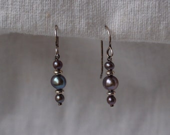 Earrings - dark grey freshwater pearls and sterling silver beads on sterling silver french wires
