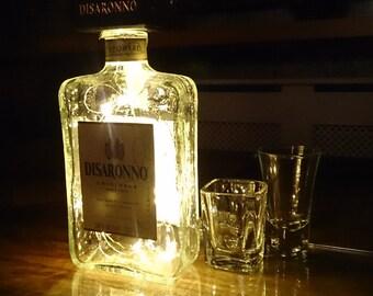Disaronno Bottle Light. Upcycled Bottle Lamp. Perfect Mood Lighting Gift For Women & Boyfriend Gift For Men. Cool Lights - Upcycled Lighting