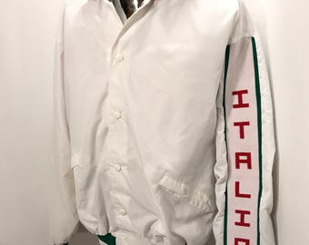 80s ITALIA Satin Jacket / Vintage Nylon King Louie Pro-Fit Italia Snap Button Italian Flag Colored Ringers SATIN Jacket Mens Size XL