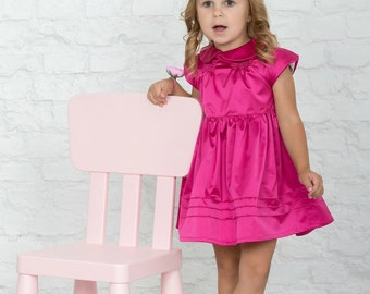 Made to order dress, peter pan collar baby girl clothes, capped sleeves pink baby dress, girls fairy dress, baby party dress, 6th birthday