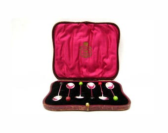 Antique Elkington and Co  English Sterling Silver 925 Demitasse Spoons with Presentation Box